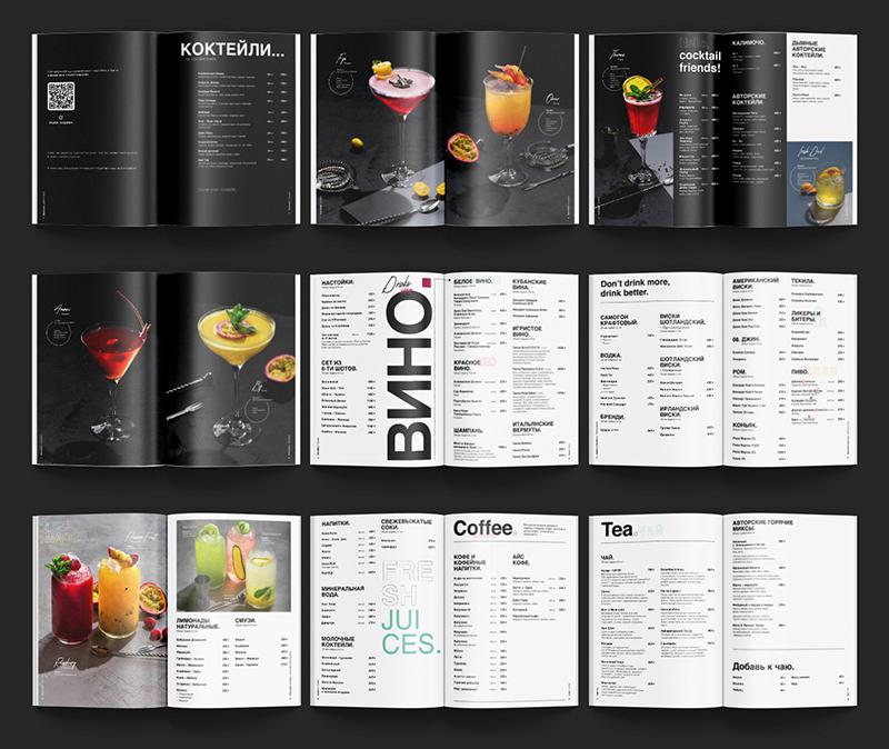Thiết kế menu đen trắng phối hợp