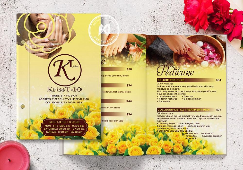Mẫu bảng giá Nails Spa KT KrissT