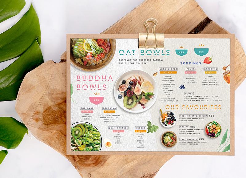 Thiết kế menu màu nước đặc sắc
