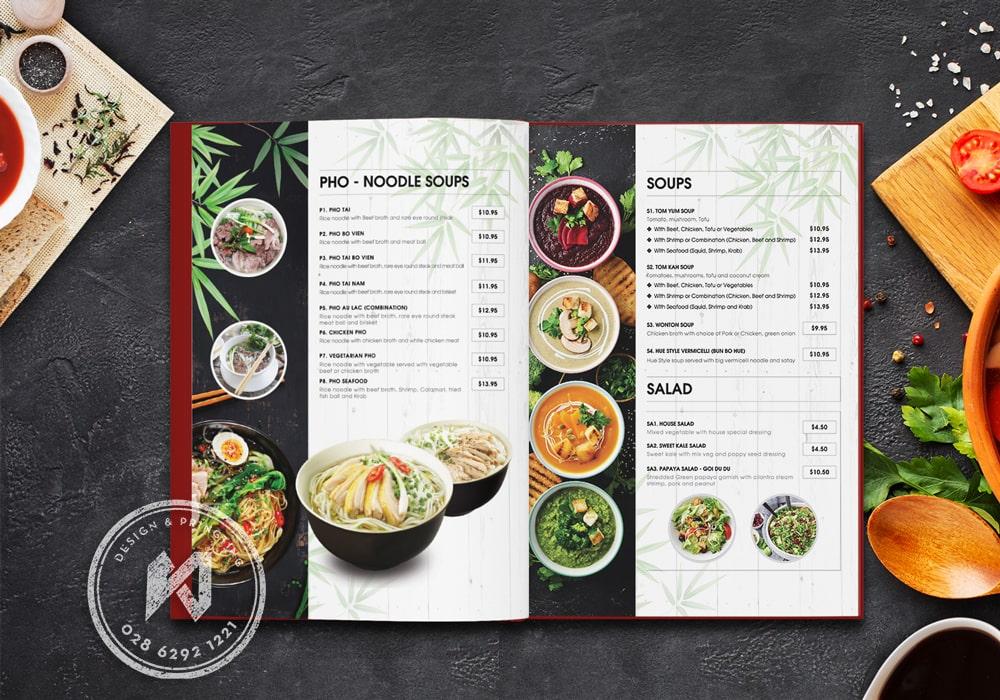 Thiết kế menu đẹp cho nhà hàng Phở