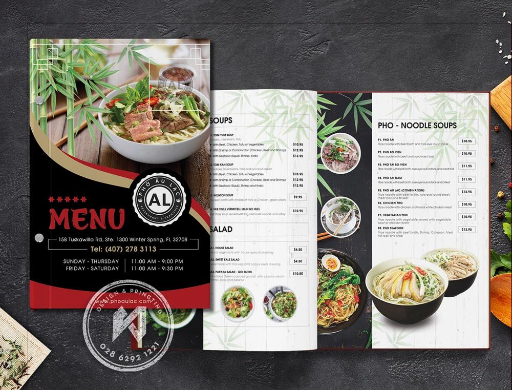 Mẫu menu nhà hàng Phở Âu Lạc