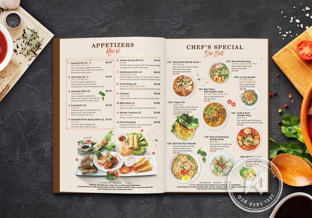 Mẫu menu cho nhà hàng Phở