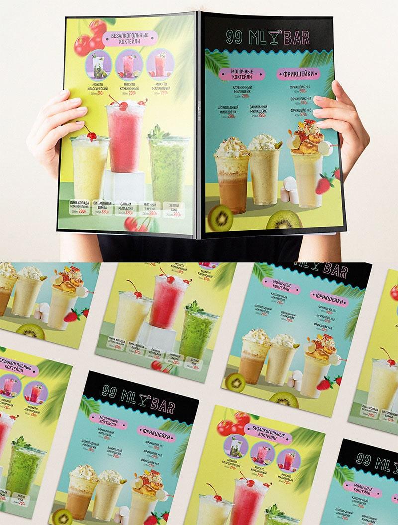 Mẫu thiết kế menu quán cafe nước ép
