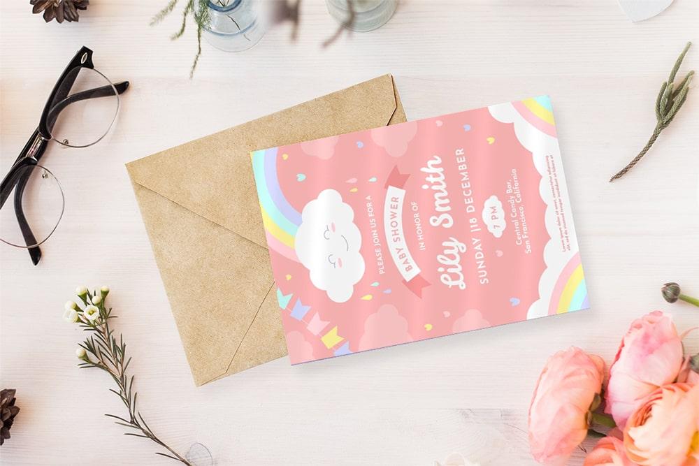 Thiệp cho bé với màu hồng cực xinh