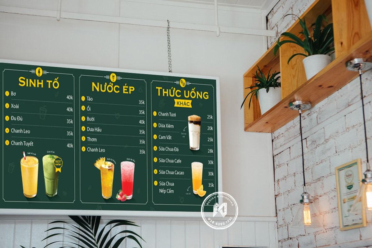 Mẫu menu bảng đẹp cho quán cà phê