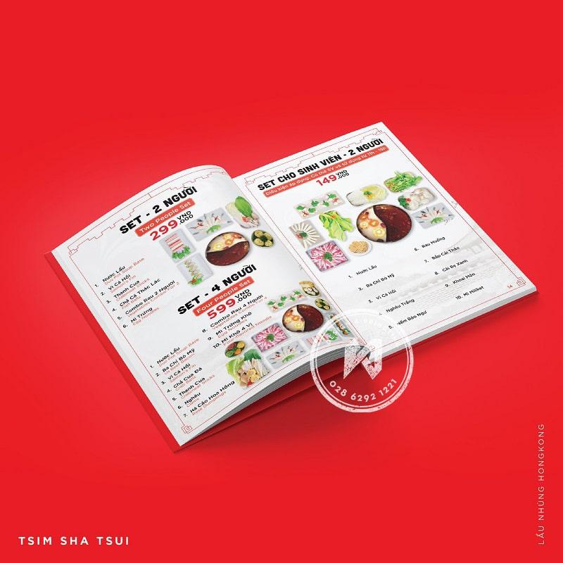 Tsim Sha Tsui - Menu trong bộ nhận diện thương hiệu nhà hàng