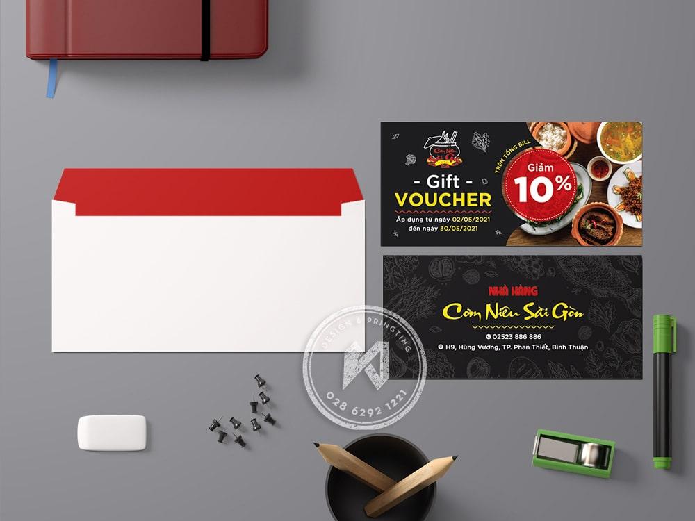 Thiết kế voucher nhà hàng cơm niêu Sài Gòn