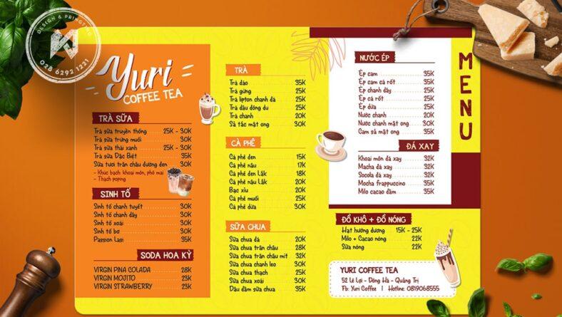 Juri Menu - Thiết kế menu bảng A3