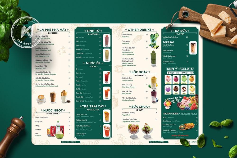 Mẫu thiết kế menu A3 cho quán trà sữa