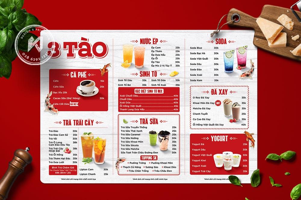 Hình in menu nhựa A3 cho quán cafe & milk tea