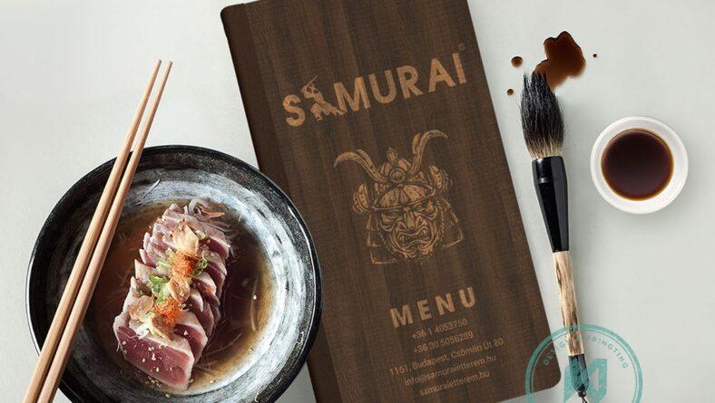 Bìa menu gỗ Samurai ấn tượng