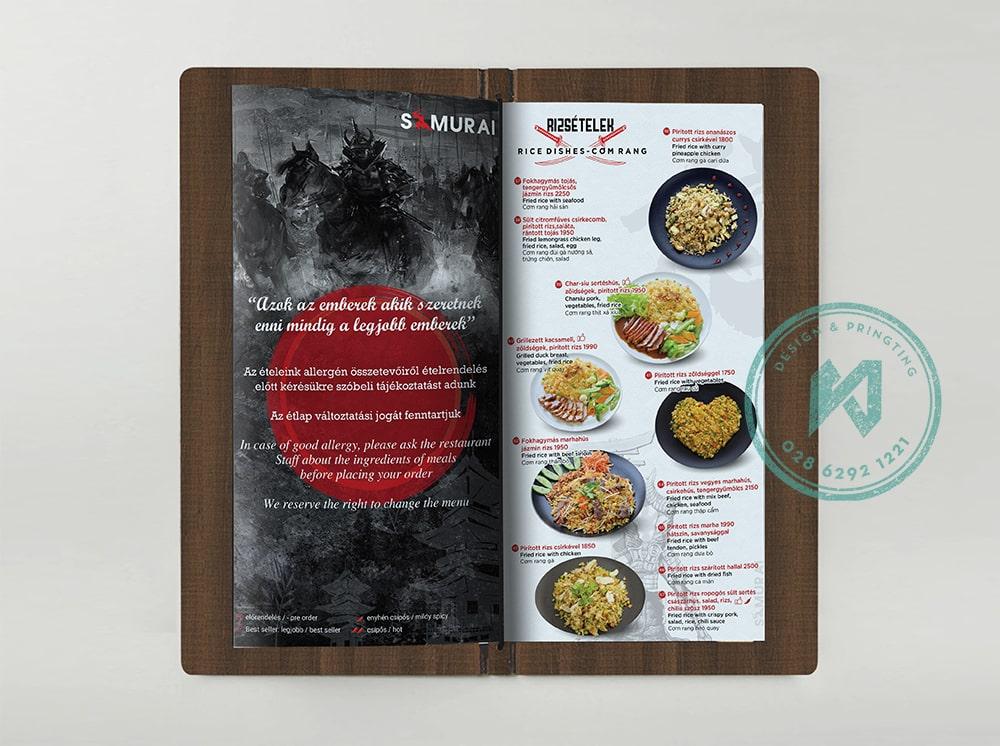 Thiết kế menu nhà hàng Việt Nhật Samurai