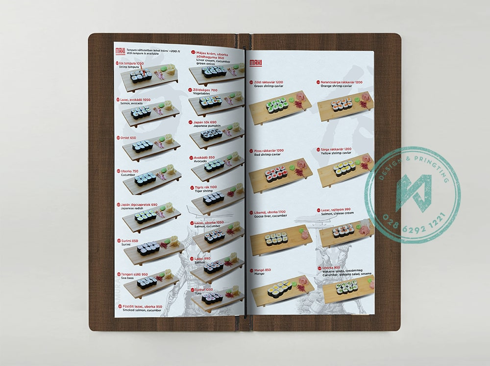 Mẫu menu nhà hàng Nhật trên bìa gỗ