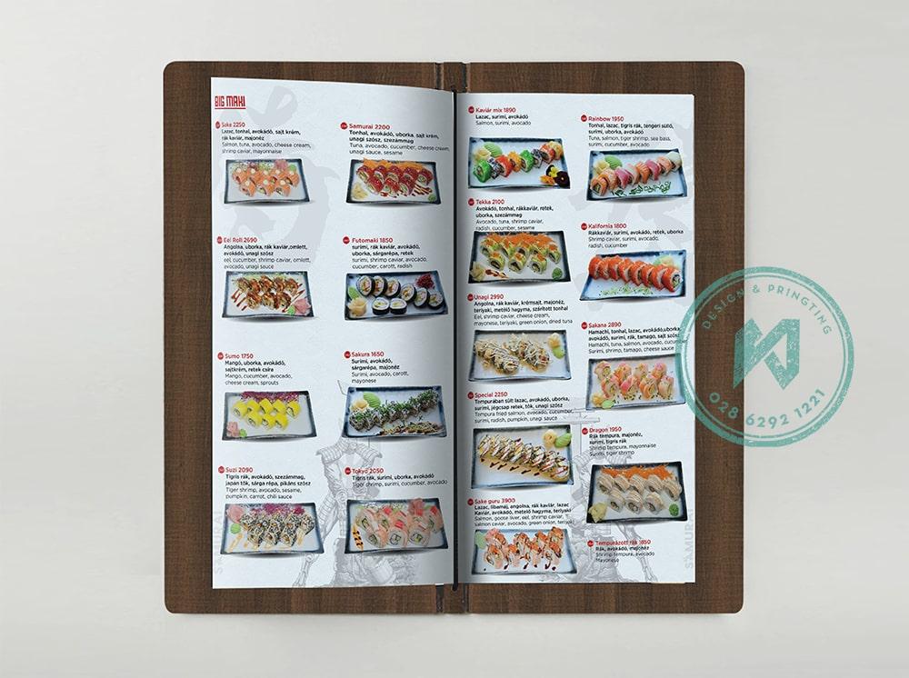 Bộ menu gỗ nhà hàng Samurai tại Hungary