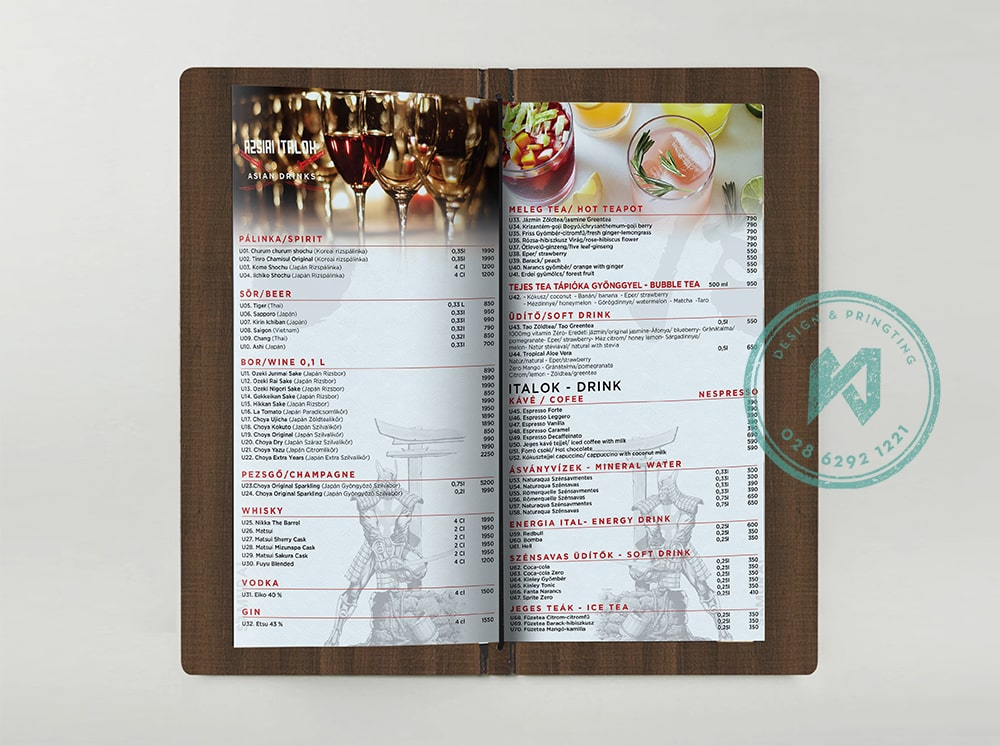 Phần rượu và nước trong thực đơn nhà hàng