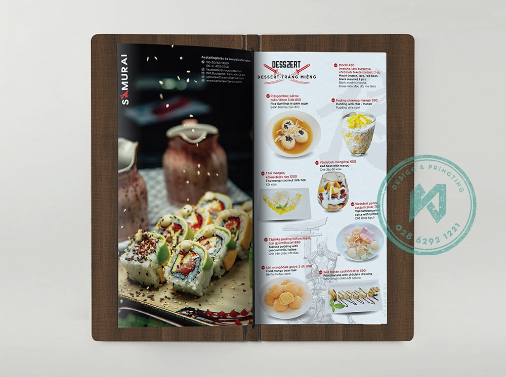Thiết kế menu nhà hàng Việt Nhật