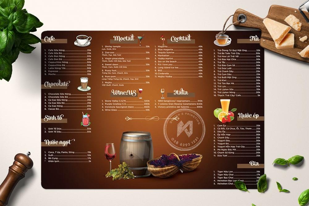 Rom Menu - thiết kế menu quán nước chuyên nghiệp