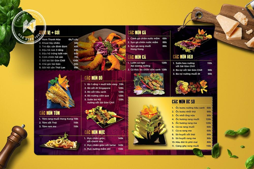 Menu quán ăn Sài Gòn Chill
