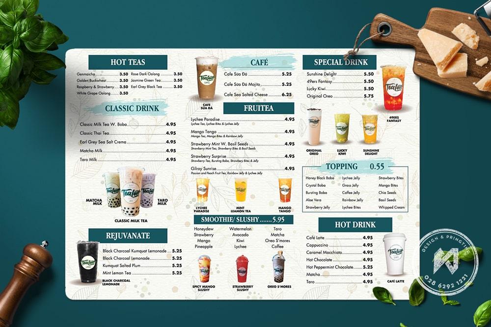 Mẫu menu A3 cho quán trà sữa