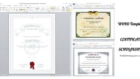 Tải mẫu giấy khen thưởng, học bổng, scholarships bằng file word miễn phí