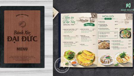 Mẫu thiết kế menu bánh Xèo Đại Đức thơm ngon hấp dẫn